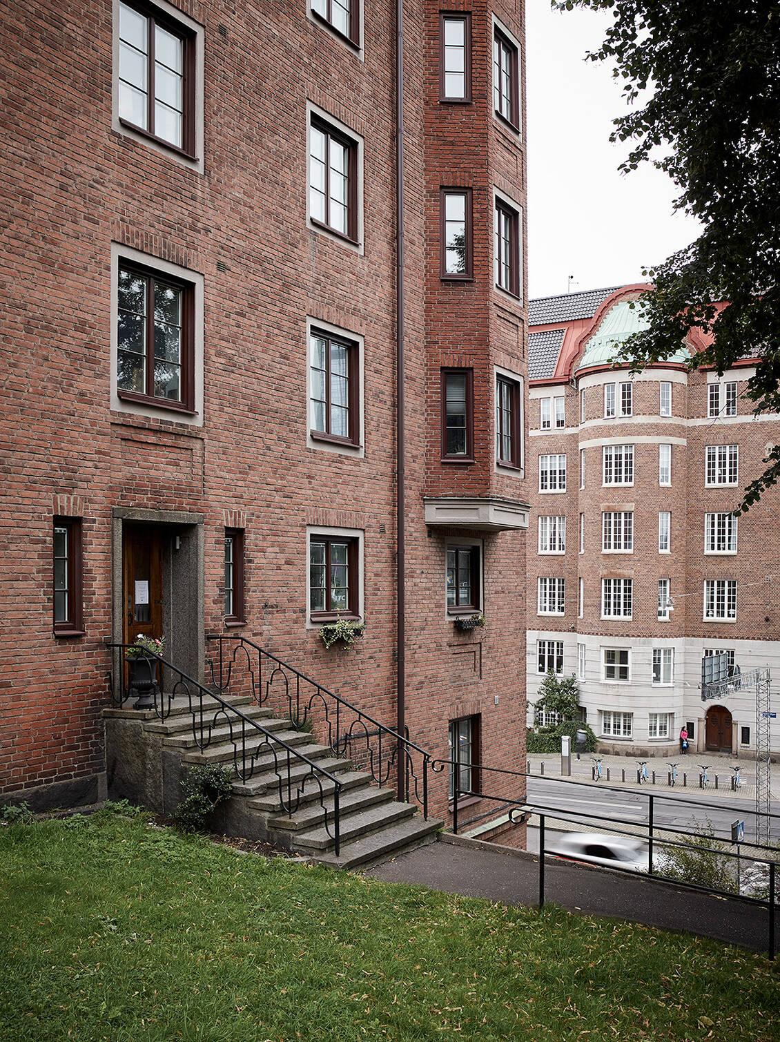 Hörnhuset på Södra Vägen 59 ritades av arkitekt Malte Erichs..