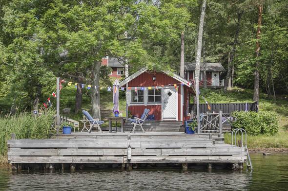 Sjöställe med sjöstuga, gästhus, stora huset och förråd