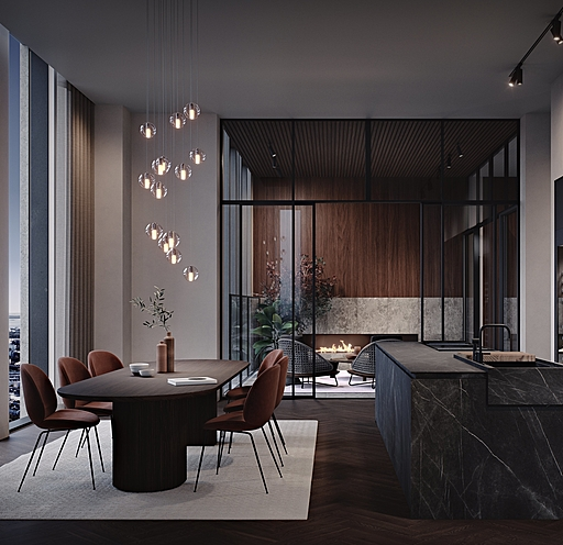 Karlatornet Penthouse 002 - Kök Vardagsrum v4.0001