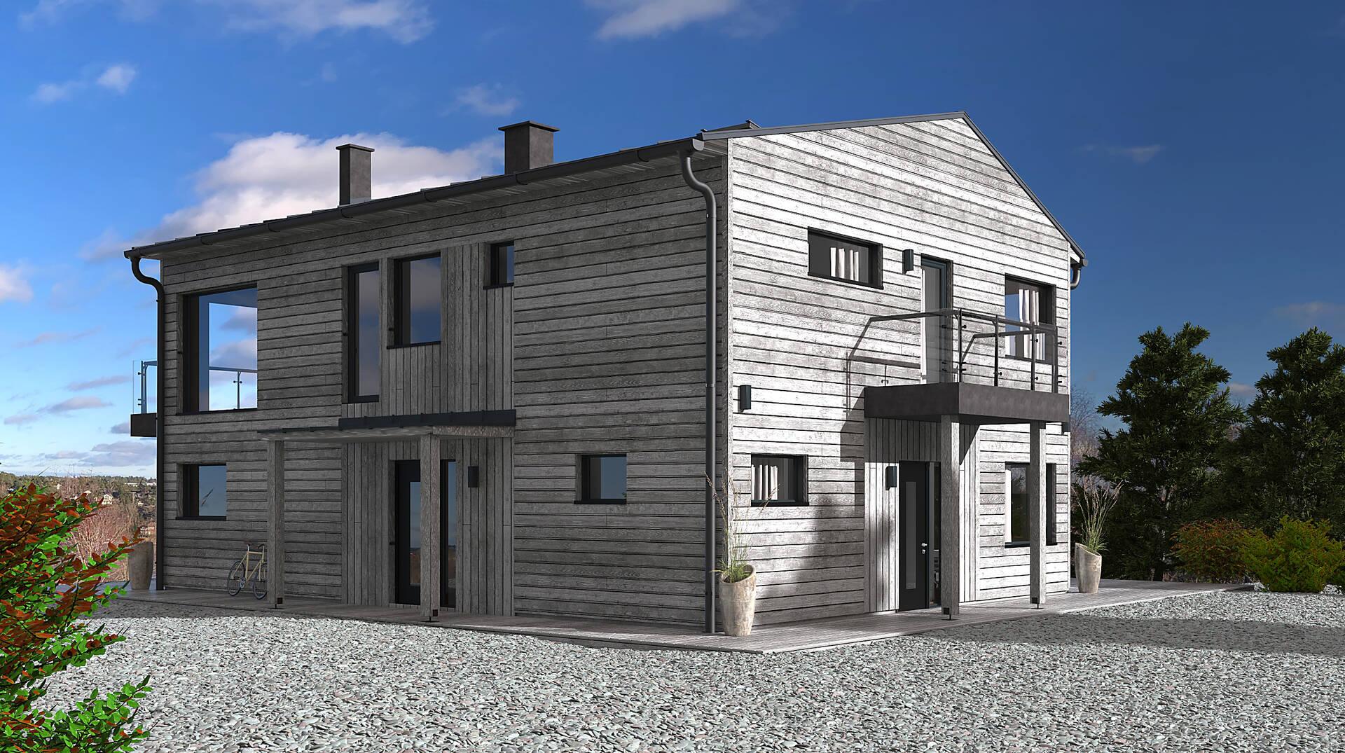 Renderingsbild Exteriör- Fasad Nordöst-Nordväst