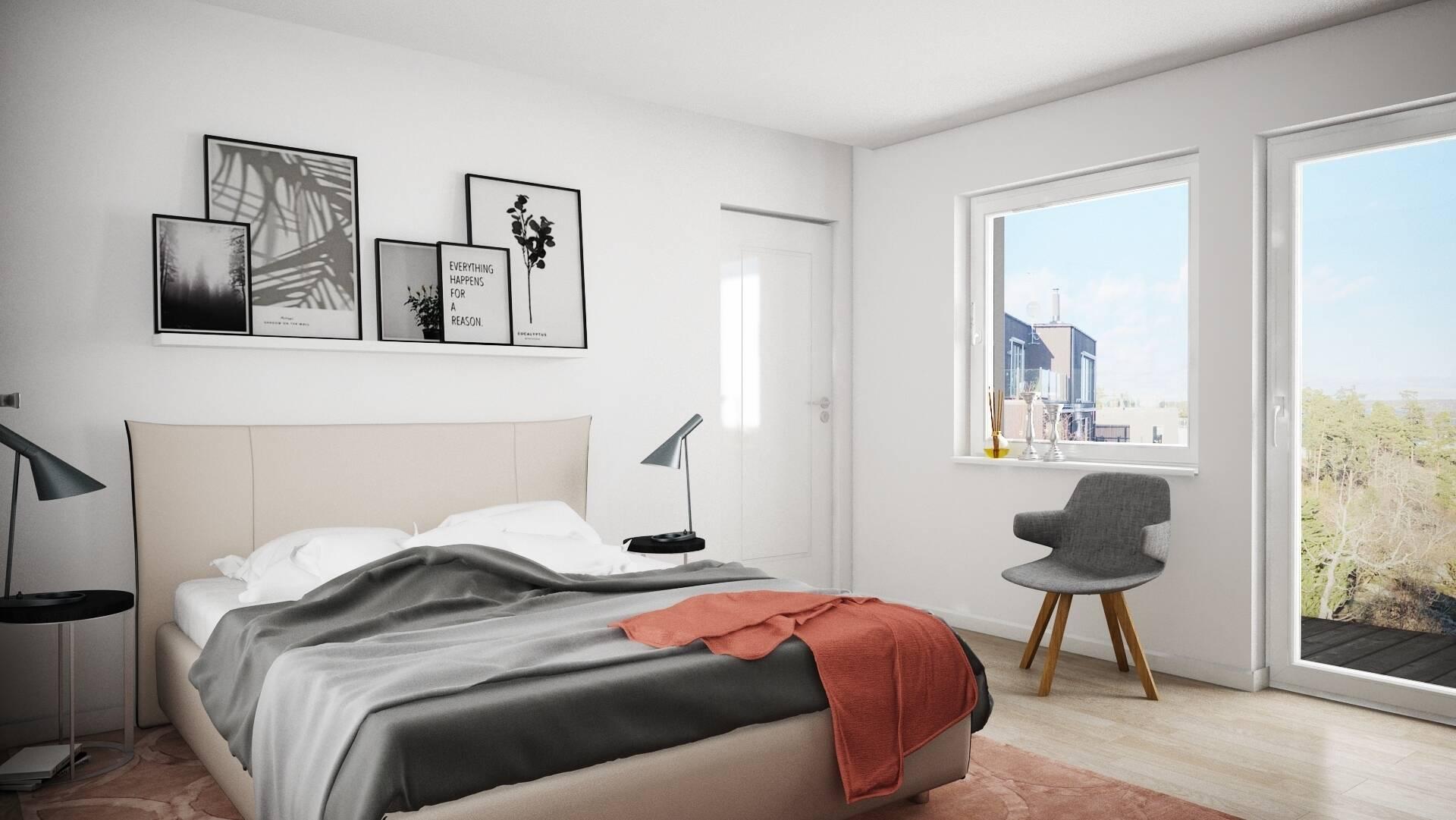 Renderingsbild Interiör - Sovrum Övre Plan