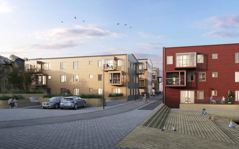 Lägenheten är belägen i det gula huset, hus A. Illustrationsbild, avvikelser kan förekomma.