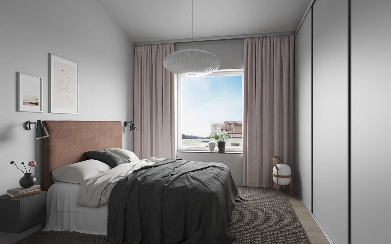 Sovrum med skjutdörrsgarderober. llustrationsbild, avvikelser kan förekomma